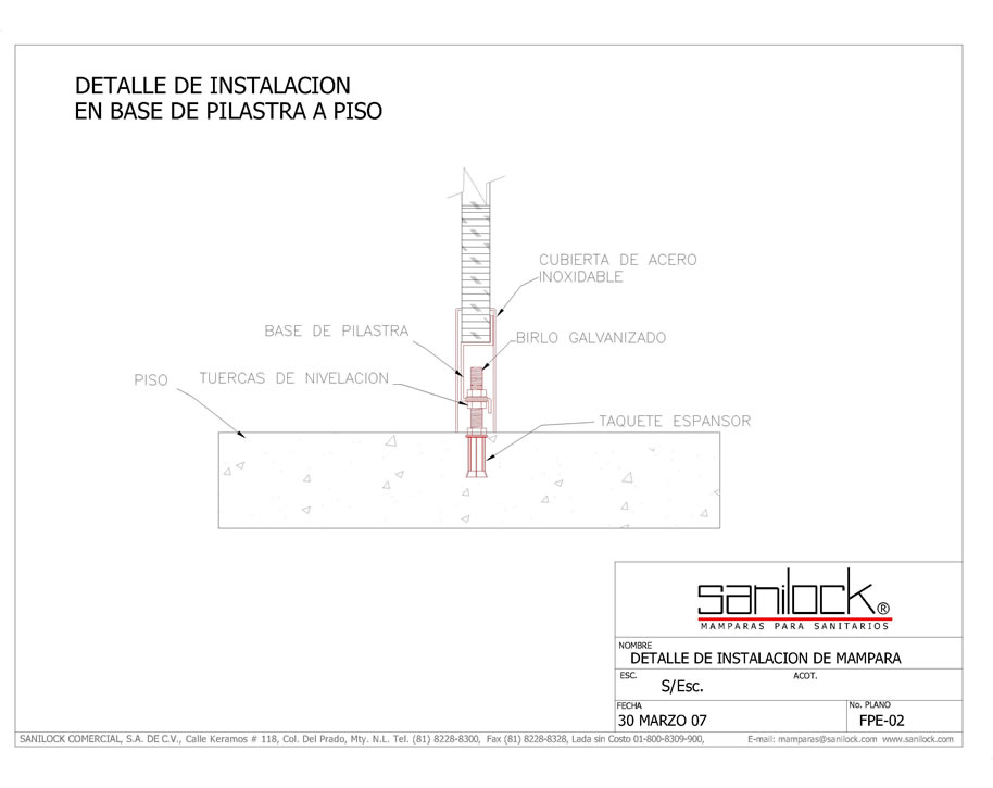 Instalaci n regaderas 5200 y 5300 sanilocksanilock for Piso tecnico detalle