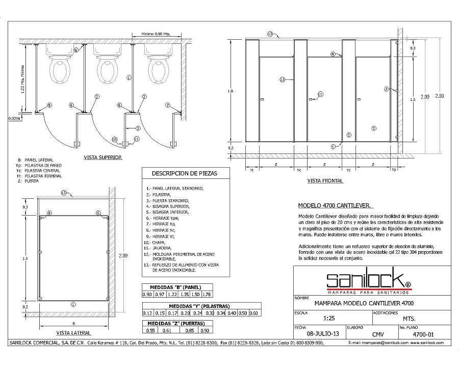 Cantilever est ndar 4700 sanilock - Puerta para discapacitados medidas ...